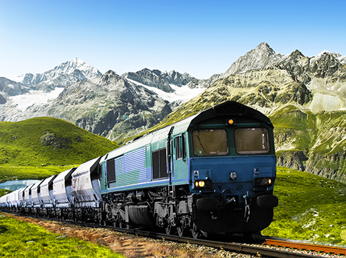 Blue Train in the Green Mountainside
